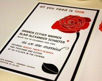 All You Need is Love Red Rose Wedding Invitations Black and White Modern Wedding Invitation Set Roses Wedding Invite Suite Modern Custom