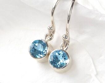 December Birthstone Earrings | Blue Topaz | Sterling Silver | Handmade in the UK
