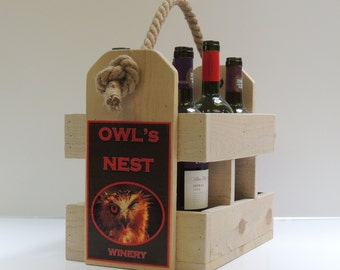 Wooden Wine Carrier with Custom Label