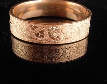 Antique 10kt gold filled Victorian bracelet / sweetheart bangle / Ornate floral design / wedding bangle / hinged bracelet  victorian jewelry