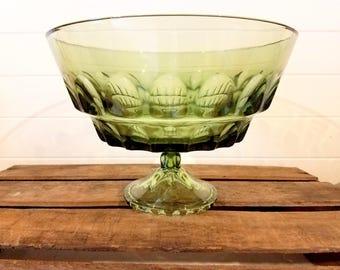 Green Glass Pedestal Fruit Bowl