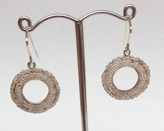 Silver Etched Doily Earrings