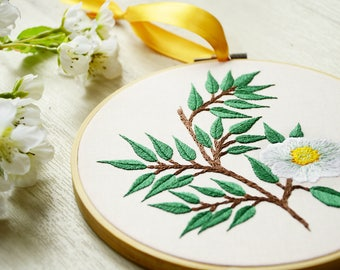 Decorative embroidery - branches and white flower - gift - birthstone - wedding