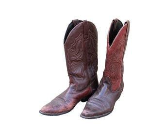Vintage USA Made Leather Western Style Cowboy Southern Calf Pull Up Pointed Toe Boots US Women's Size 8