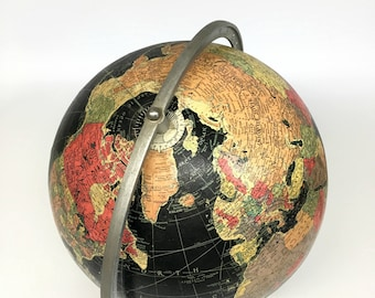 "Replogle 12"" Starlight Globe, Vintage 1940's Replogle Black Globe, Starlight Black Ocean Globe, Vintage World Globe, Replogle Globe"