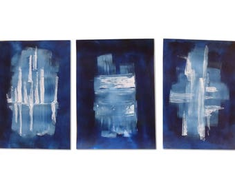 Set of 3 Blue Abstract paintings,11.7 x 16.5 inches,triptychon,dark blue minimalistic abstract art