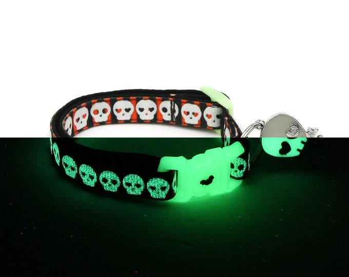 Skull Cat Collar - Glowing Skulls on Halloween Stripe - Small Cat / Kitten or Large Cat Collar - Glow in the Dark
