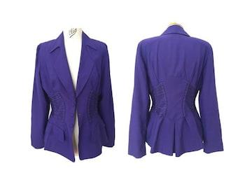 1980s MUGLER  purple laced blazer  and skirt women SUITS // size eu 42 - uk 14 - us 10