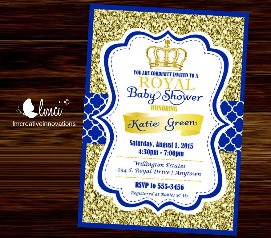 gallery zibbet invitations on by or fullxfull princess katiedid il hero neutral coed designs chic prince shabby birthday baby royal reveal invitation shower item twins gender