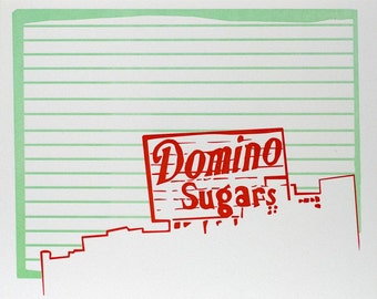 """Baltimore City Letterpress Poster   Domino Sugars sign   red & mint 8"""" x 10"""" Poster"""