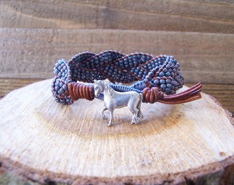 Denim Blue Horse Beaded Braided Leather Wrap Cuff Bracelet, Horse Bracelet, Horse Jewelry, Leather Jewelry, Rustic Cuff, Leather Bracelet