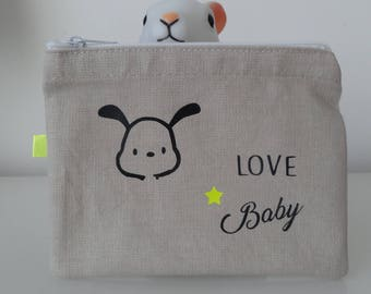 "Cute little coin ""Baby Love""; Neon and small star dog face"