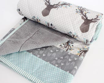 Baby Quilts for Boys Blue & Gray, Baby Quilts Handmade, Woodland Nursery, Faux Fur, Woodland Quilts, Deer Baby Bedding, Deer Antlers Blanket