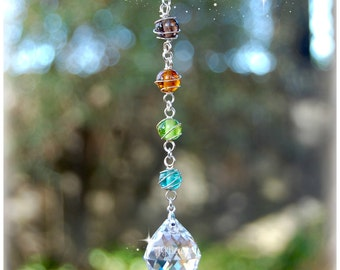Prism Crystal Suncatcher, Rearview Mirror Car Charm, Beaded Window Decoration, Light Catcher, Ornament