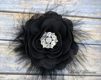 Black Chiffon Flower Hair Clip | Vintage Inspired Bridal Hair Piece | Fascinator | Girl Feathers Pearl Rhinestone | White Ivory Feathers