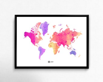 Instant download Print Pink watercolor World map, Motivational Wall art decor, Printable art, Inspirational art, Eco friendly poster