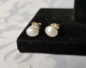 Sterling Silver MOP Earrings, Sterling Mother of Pearl Stud Earrings, MOP Earrings, Earrings, Mother of Pearl