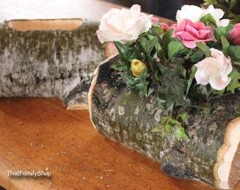 Log Flower Vase Rustic Wedding Table Centerpiece Decoration