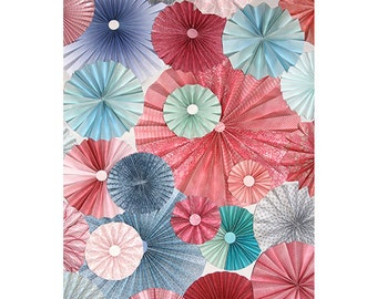 10pc pink blue  Paper Pinwheel Rosette Party Decoration Set wedding , birthday party ,