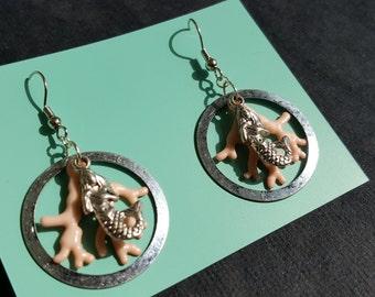 Coral Mermaid Earrings