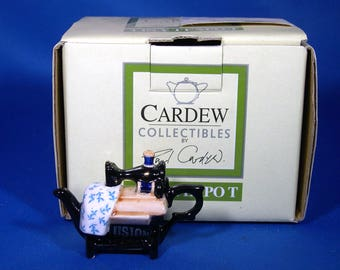 Paul Cardew Sewing Machine Tiny Teapot w/Box - Vintage - Collectible