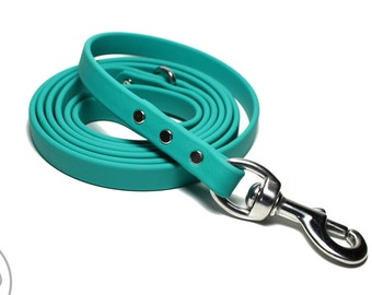 "New color - Teal Biothane Leash - 5/8"" (16mm) Wide - Choice of: Stainless Steel or Brass Hardware and Length 4ft, 5ft, 6ft (1.2m,1.5m,1.8m)"
