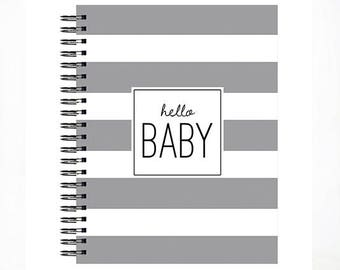 Hello Baby™ Baby Book, Baby Memory  Book, GREY STRIPE, Personalized Baby Book,  Baby Books, The