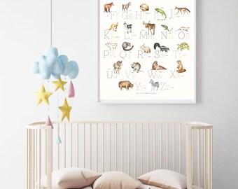 Animal Alphabet Poster, nursery wall art, wall decor, alphabet poster, kids room wall art, educational, woodland wall art, animal nursery