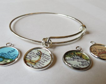 Stack bracelet,  Bracelets, travel jewelry, for Daughter, distance charm bracelet, aunt gift, Napa Gift for Her, Cape Cod, military mom
