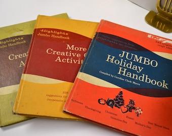 Vintage Children's Books Highlights Jumbo Handbooks Set of 3
