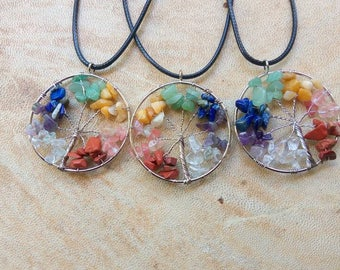 Huge Chakra tree of life crystal necklace. Chakra Crystal pendant. Reiki pendant.