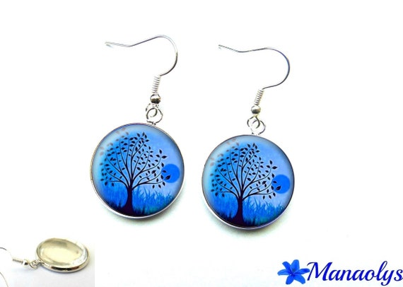 Earrings black trees on blue background, 1911 glass cabochons