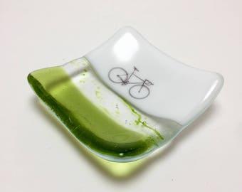 Fused glass, bike plate, road bike, handmade glass dish, dish, art, home decor, jewelry dish, candy dish, spoonrest, dish, fused glass plate