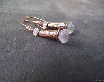 Ancient Days Copper & Rose Quartz Earrings