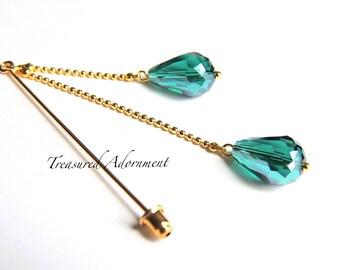 Hijab pin, Hijab pin, Green Teardrop Crystal Double Dangle Hijab Pin, Ramadan Eid gift, Gift for her, Scarf Pin, Shawl Pin, Stick pin, Hat