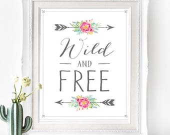 Wild & Free Poster - INSTANT DOWNLOAD - Printable Southwest Native American Bohemian inspired Digital Art Print Wedding Art, Pastel Boho