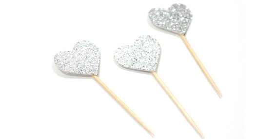 Silver Glitter Heart Cupcake Toppers - First Birthday. Bachelorette Party. Bridal Shower. Birthday Party Decor. Heart Cupcakes.