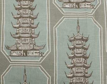 Chakra Temple Pagoda Pattern Turquoise on Linen Cotton Canvas Fabric by the Yard- Style 3524