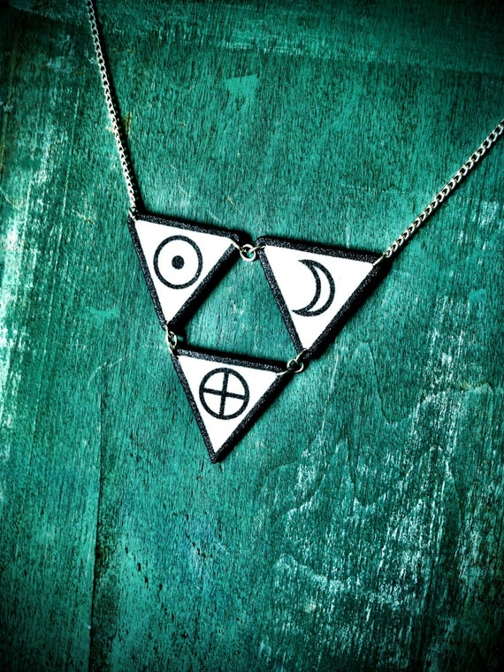 Triangle Circle Symbol Necklace Black And White Earth Sun Moon