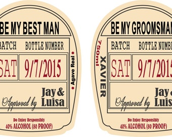 Private Listing for idolisapanila Groomsman Proposal Label - Custom Groomsman Liquor Labels to fit your bottles -  Best Man -