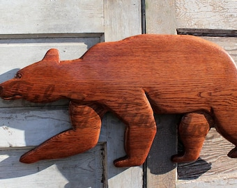Bear Carving Barn Wood Sculpture, Walking Black Bear from Reclaimed Recycled Barn Wood Wall Hanging