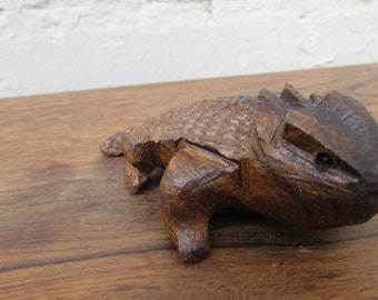 Ironwood Desert Horned Toad Lizard Reptile Handcarved Wood Carving