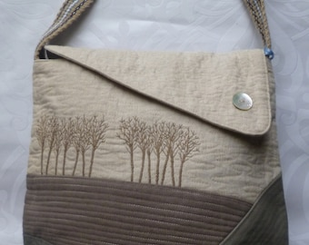 Brown/Beige Forest large cross body bag