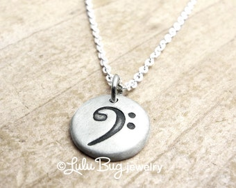 Bass clef necklace etsy bass clef necklace music necklace musical jewelry music note necklace gift for her silver bass clef charm aloadofball