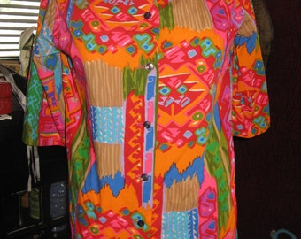 Pop Art Neon Tiki Hawaiian Hula Shirt Top Blouse
