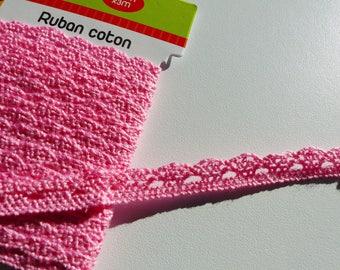 3 meters of cotton crochet Ribbon width 1centimetre pink