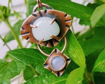 Ancient Artifact Copper Pendant with Rose Quartz