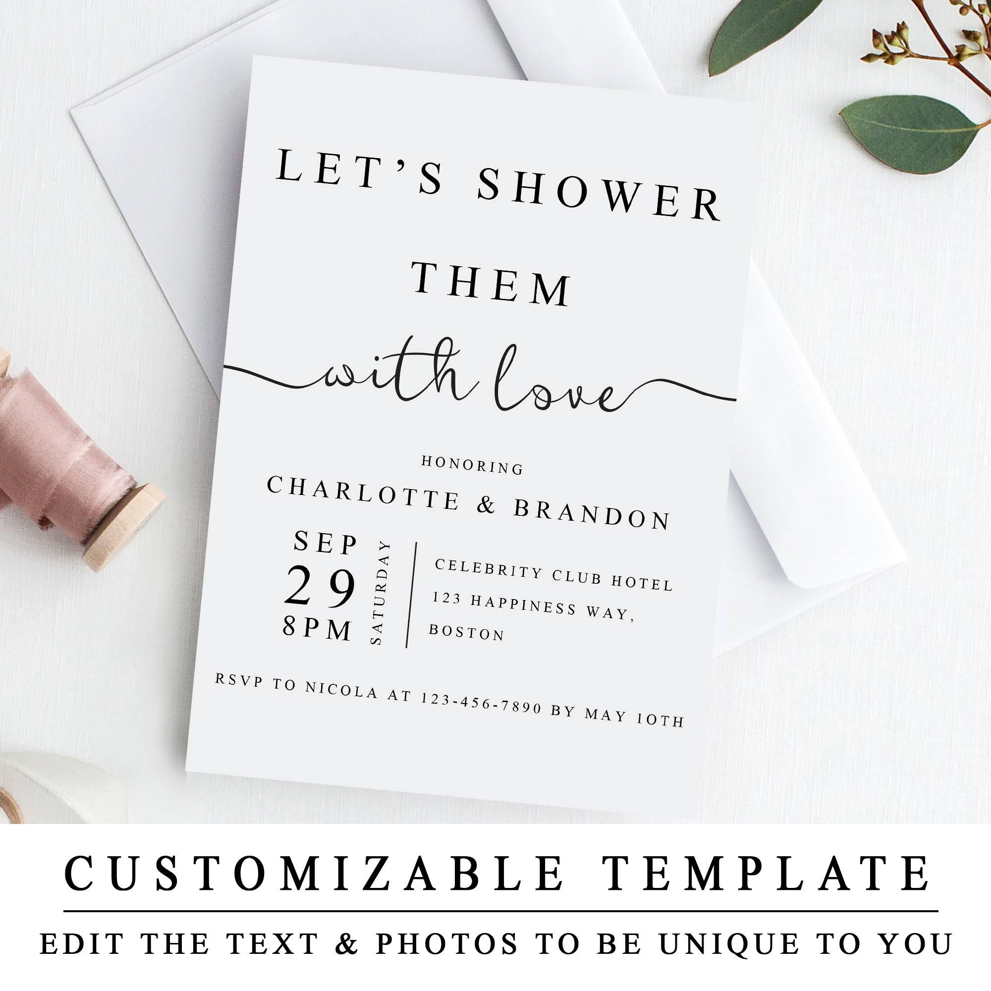 Couples Shower Invitation Template Printable Wedding Shower