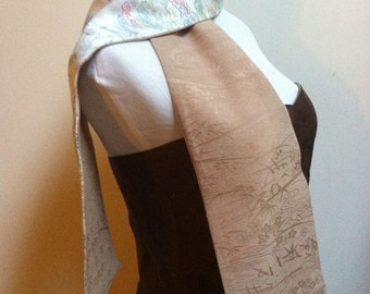 Vintage Kimono Silk Reversible Scarf Ivory with  Cheerful Floral and Tree Design