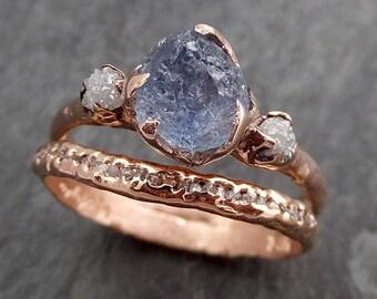 Raw Sapphire Diamond Rose Gold Engagement Ring Wedding Ring Custom One Of a Kind Pink Gemstone Multi stone Ring 0970